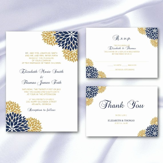 Blue and Gold Invitation Template Lovely Navy Blue Gold Wedding Invitation Set Templates Elegant