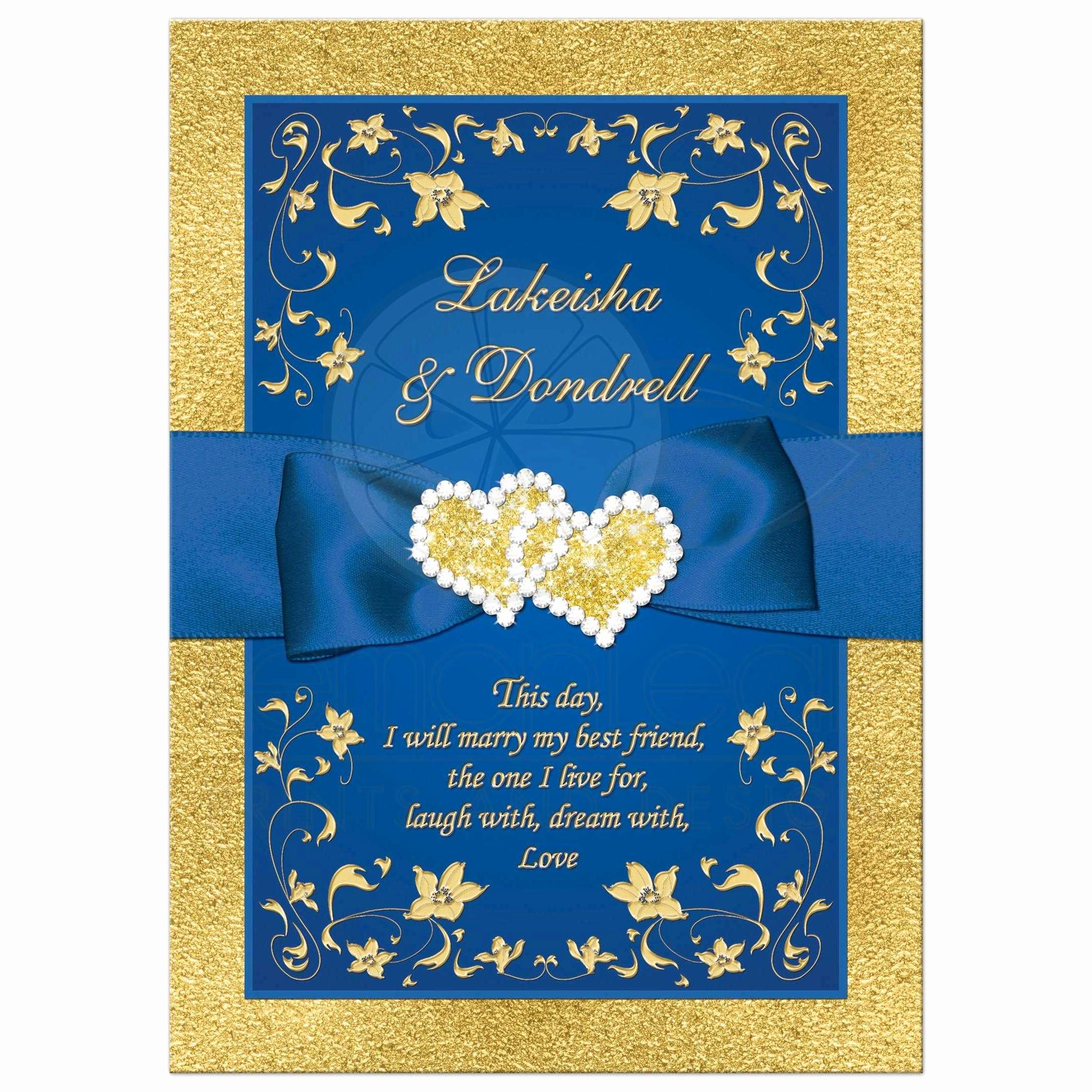 Blue and Gold Invitation Template Lovely Wedding Invitation Royal Blue Faux Gold Foil Floral