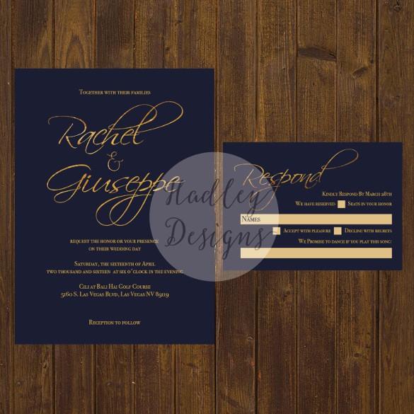 Blue and Gold Invitation Template Luxury 31 Elegant Wedding Invitation Templates – Free Sample