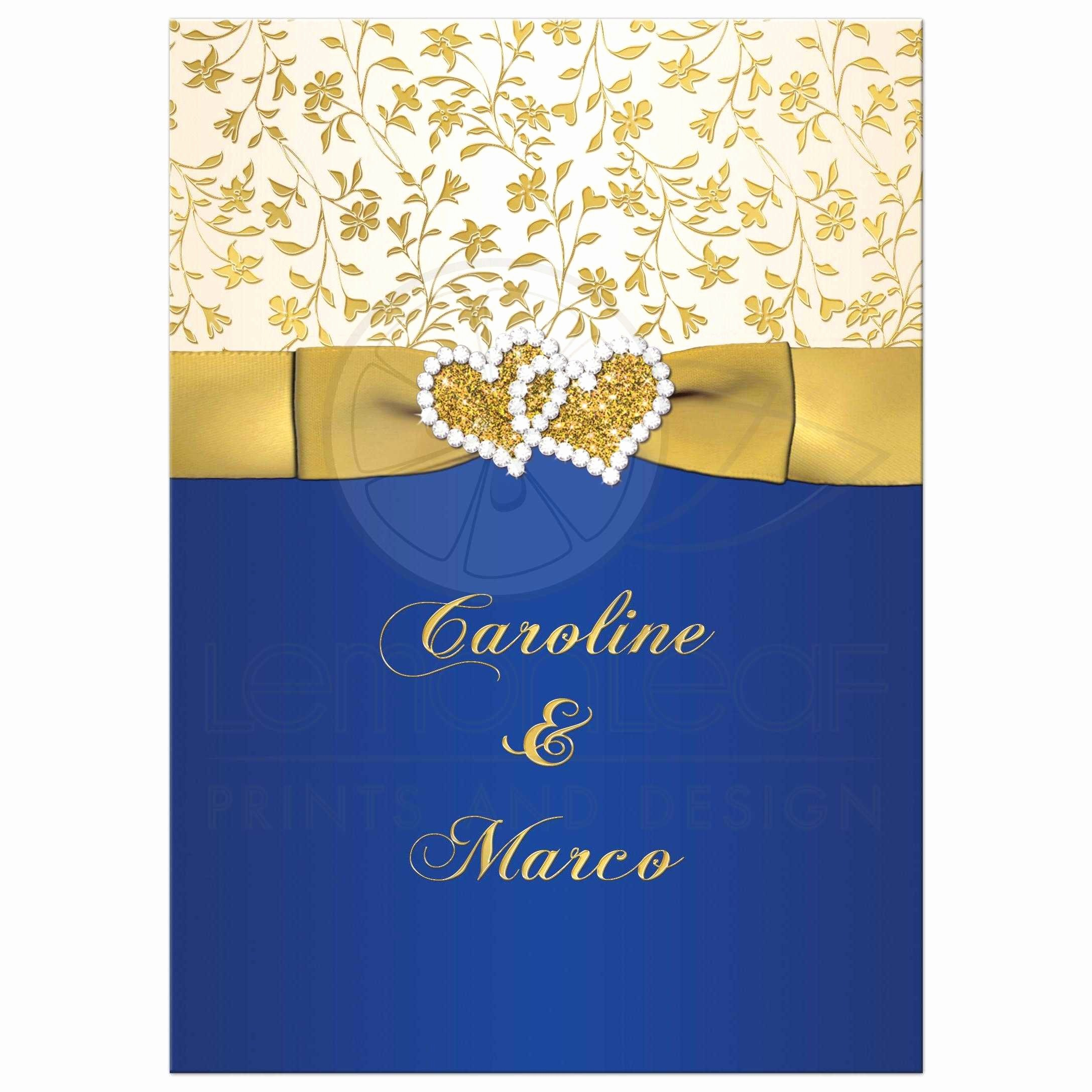 Blue and Gold Invitation Template Luxury 40th Wedding Anniversary Invite