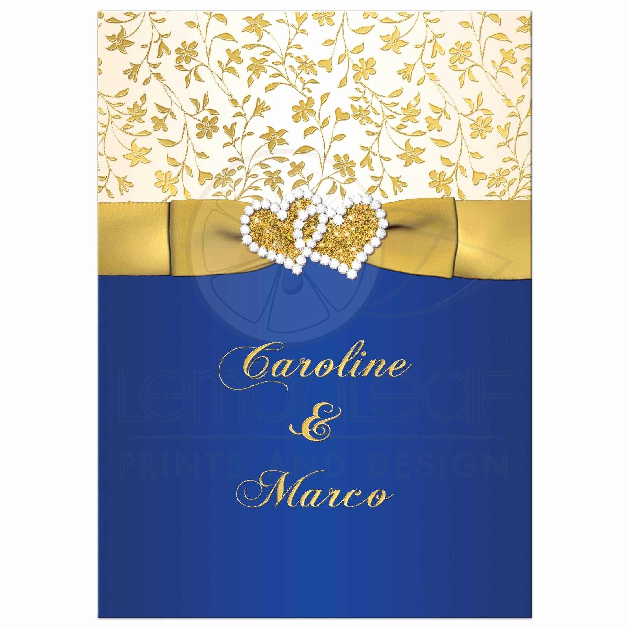 Blue and Gold Invitation Template Luxury 40th Wedding Anniversary Invite