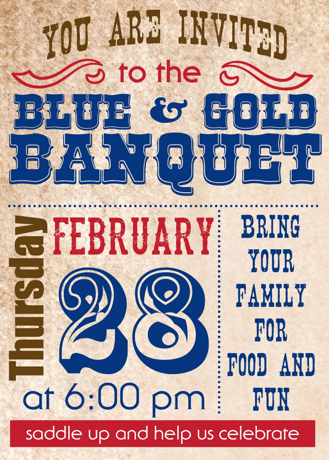 Blue and Gold Invitation Template Luxury Cowboy Party–blue and Gold Banquet Style Love and Laundry