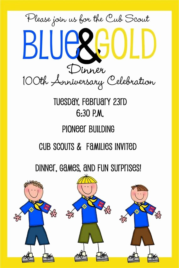 Blue and Gold Invitation Template Luxury Cub Scouts Blue and Gold Banquet Invitation