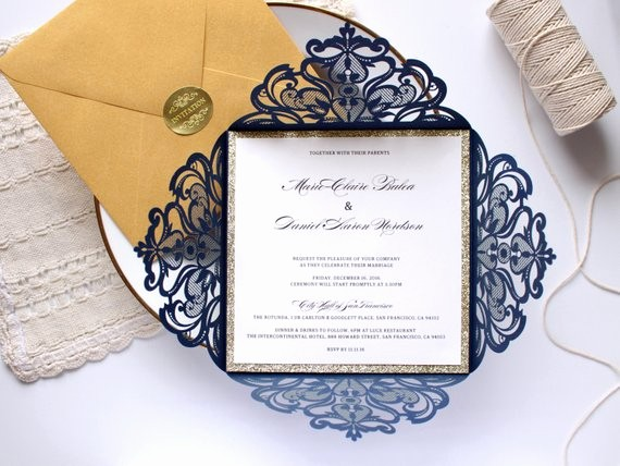 Blue and Gold Invitation Template Luxury Navy and Gold Wedding Invitation Gold Glitter Wedding Invite