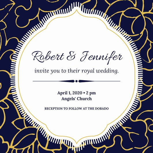 Blue and Gold Invitation Template New Blue White Gold Floral Elegant Royal Wedding Invitation
