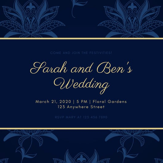 Blue and Gold Invitation Template New Navy Blue and Gold Paisley Patterned Jewish Wedding