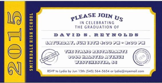 Blue and Gold Invitation Template Unique Graduation Invitations Ticket Graduation Invitations