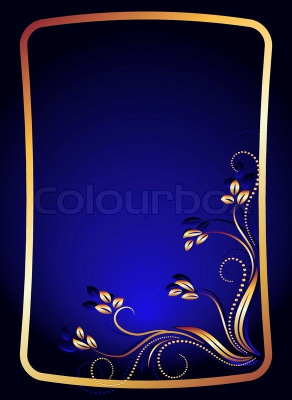 Blue and Gold Powerpoint Template Beautiful Background with Gold ornament for Various Design Artwork