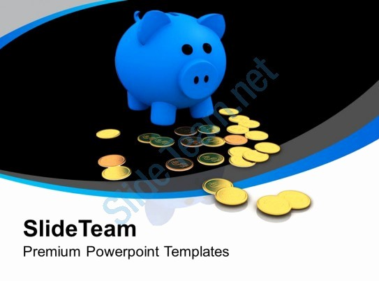 Blue and Gold Powerpoint Template Fresh Blue Piggy Bank with Gold Coins Powerpoint Templates Ppt