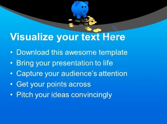 Blue and Gold Powerpoint Template Inspirational Blue Piggy Bank with Gold Coins Powerpoint Templates Ppt