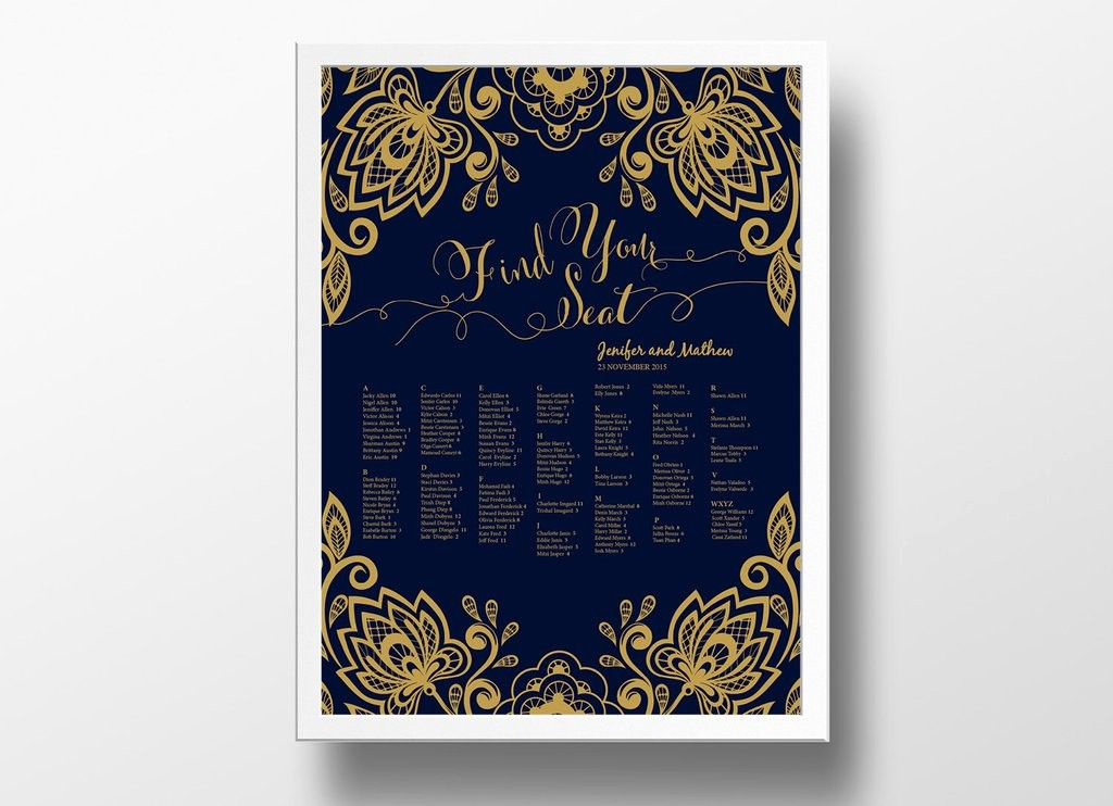 Blue and Gold Powerpoint Template Inspirational Wedding Seating Chart Poster Diy