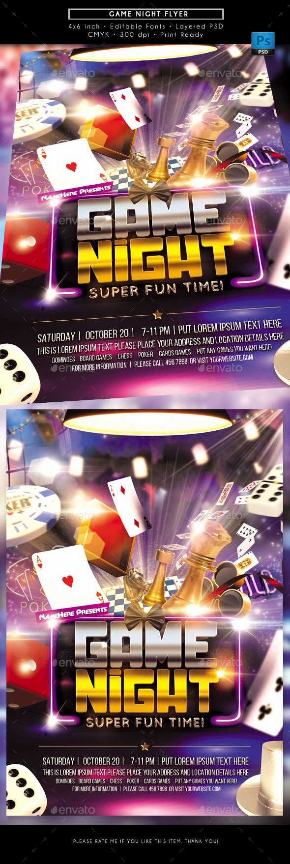 Board Game Night Flyer Template Awesome Game Night Flyer by Rudydesign