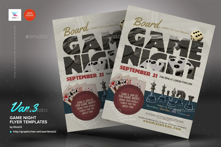 Board Game Night Flyer Template Awesome Game Night Flyer Templates by Kinzi21