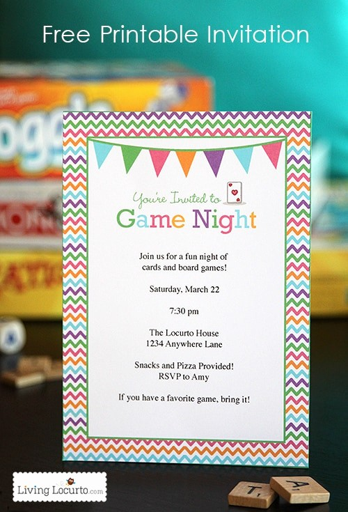 Board Game Night Flyer Template Beautiful Game Night Party Ideas with Free Printables
