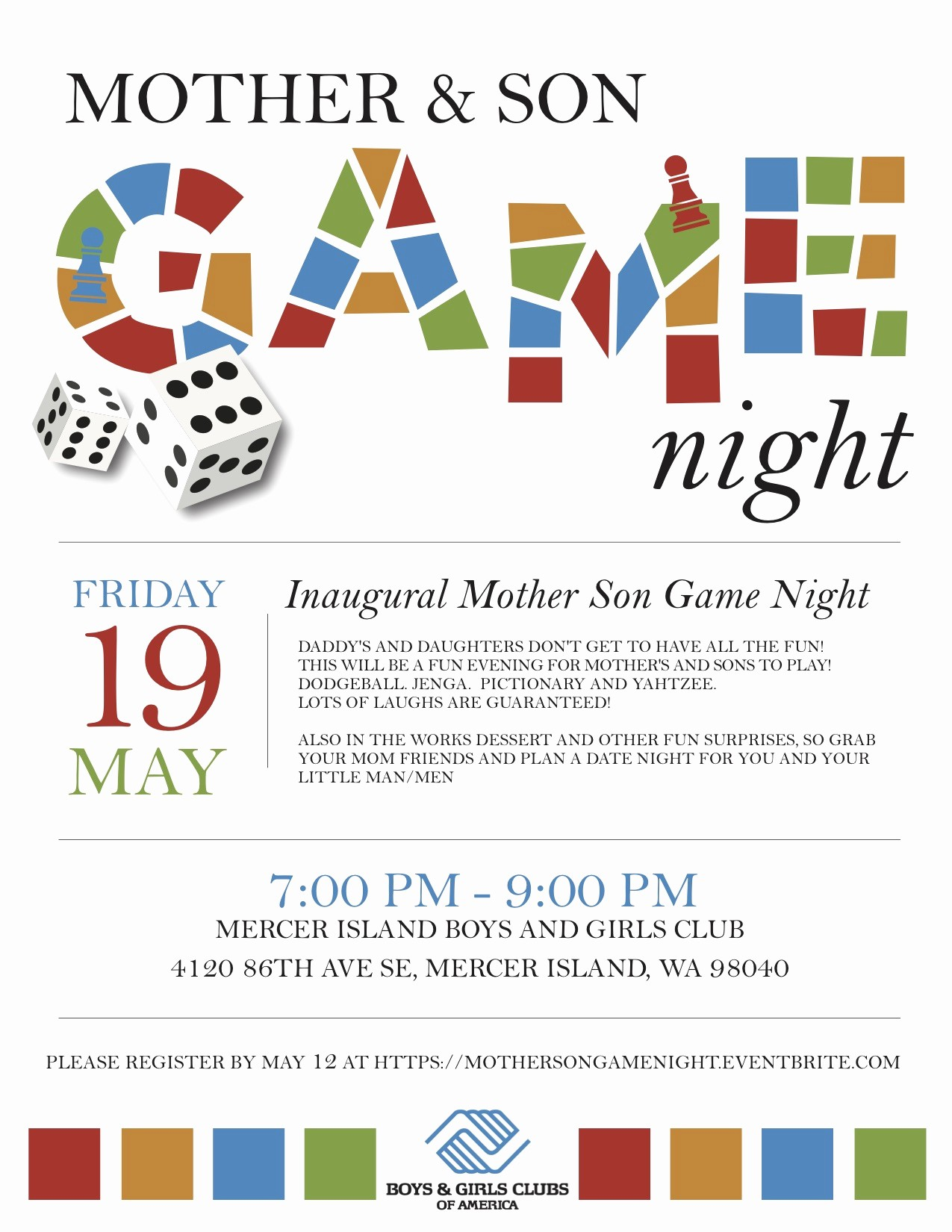 Board Game Night Flyer Template Beautiful Mother & son Game Night