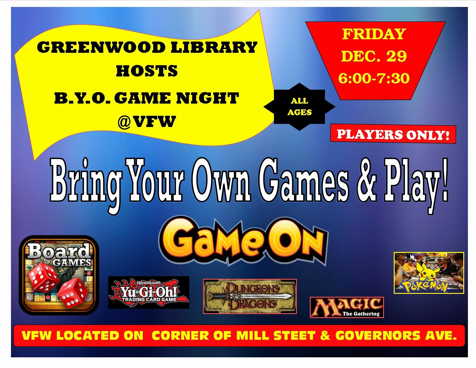 Board Game Night Flyer Template Best Of B Y O Game Night Greenwood Vfw