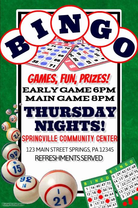 Board Game Night Flyer Template Fresh Bingo Template