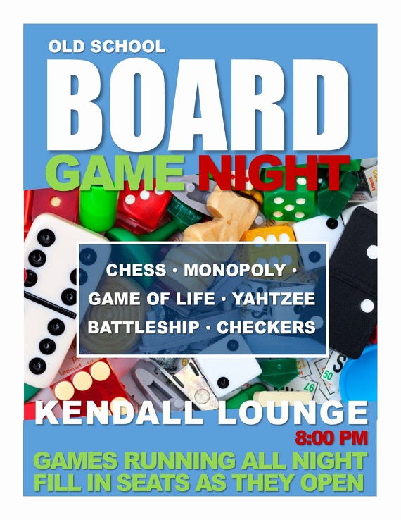 Board Game Night Flyer Template Inspirational Board Game Night Program Flyer for Residence Hall Programs