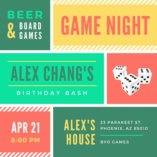 Board Game Night Flyer Template Inspirational Game Night Grid Birthday Invitation Templates by Canva