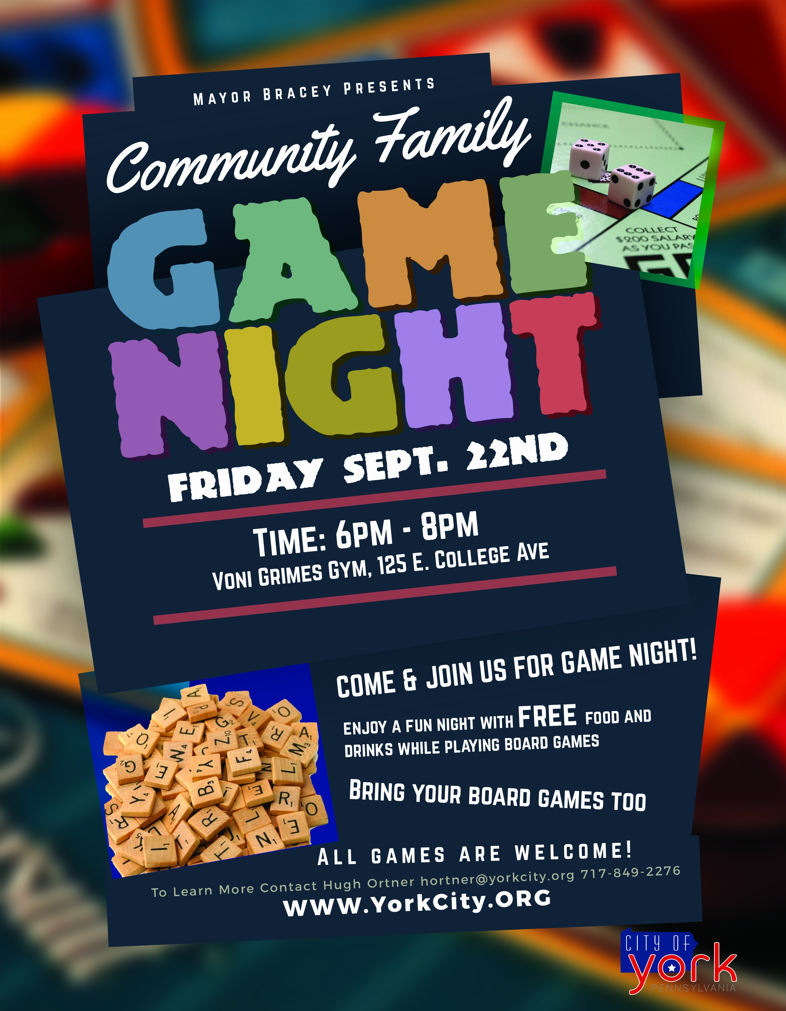 Board Game Night Flyer Template New Munity Family Game Night City Of York Pennsylvania