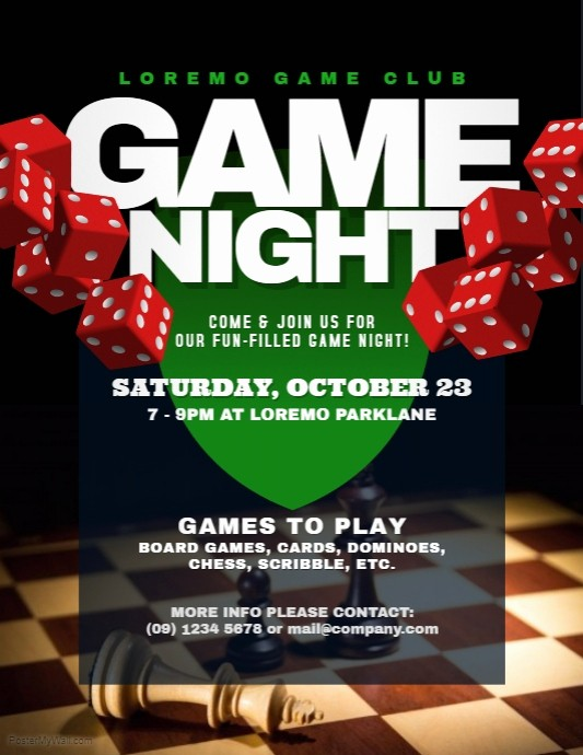 Board Game Night Flyer Template Unique Game Night Flyer Templates