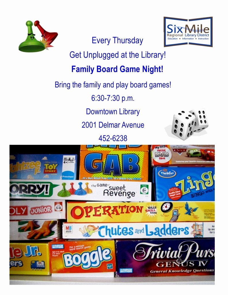 Board Game Night Flyer Template Unique Get Unplugged at the Library Family Game Night Six Mile