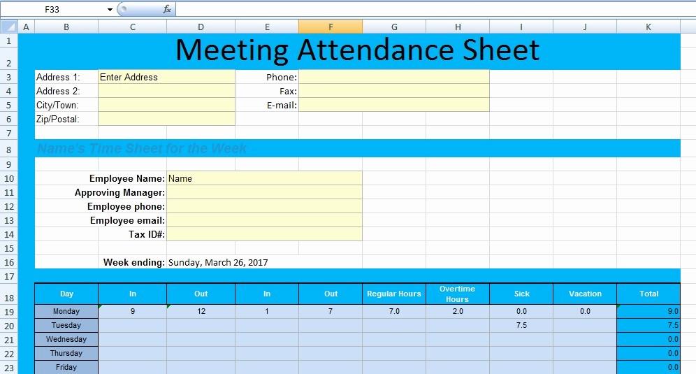 Board Meeting attendance Sheet Template Awesome Get Meeting attendance Spreadsheet format Excel