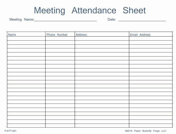 Board Meeting attendance Sheet Template Elegant 46 Best attendance Sheet Template Examples for Classroom