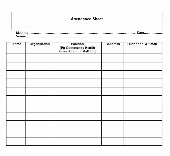 Board Meeting attendance Sheet Template Elegant Nice Sample attendance Sheet Template with Meeting Date