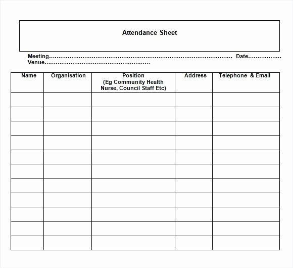 Board Meeting attendance Sheet Template Elegant Nice Sample attendance Sheet Template with Meeting Date