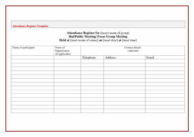 Board Meeting attendance Sheet Template Luxury attendance Sheet Template Word Example Mughals