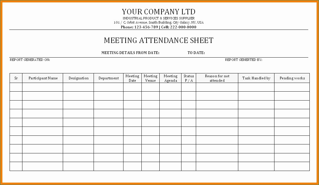 Board Meeting Sign In Sheet Awesome Meeting attendance Sheet Template Present Meeting