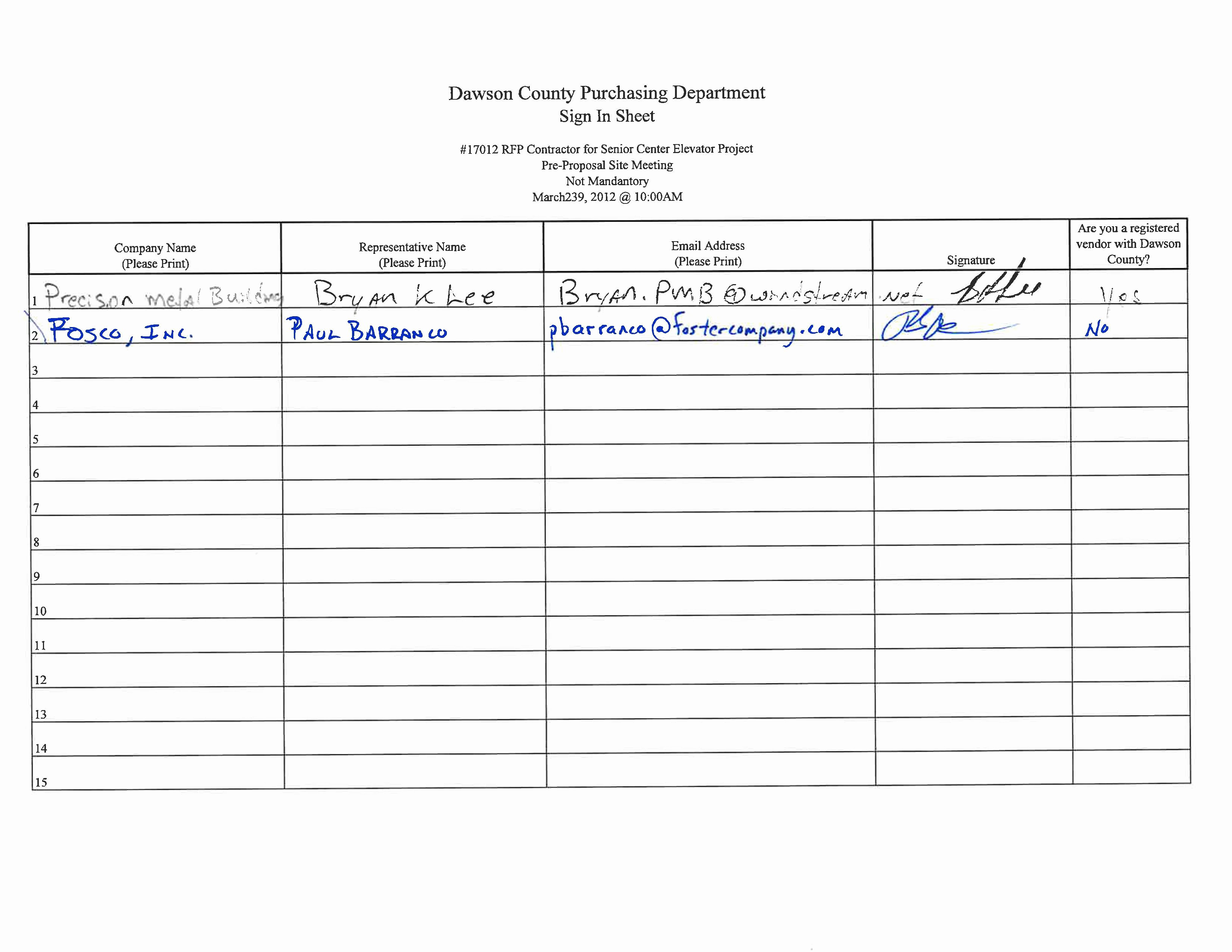 Board Meeting Sign In Sheet Luxury 170 12 Rfp Contractor for Senior Center Elevator Project