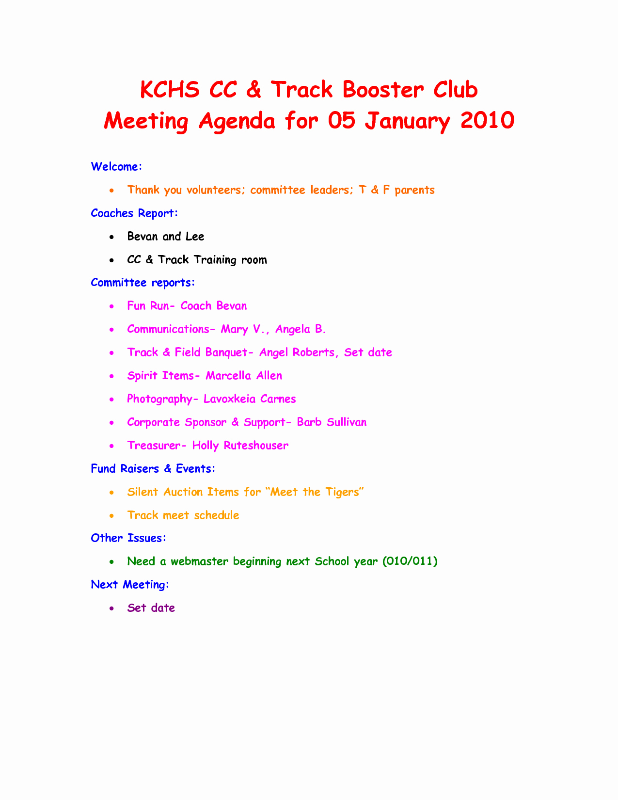 Booster Club Meeting Minutes Template Awesome 7 Best Of Club Meeting Agenda Template Sample