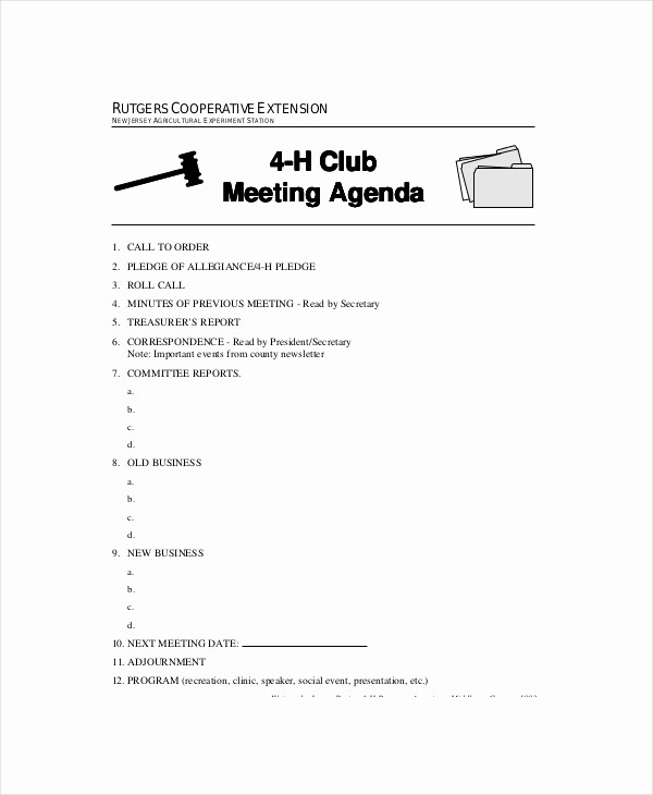 Booster Club Meeting Minutes Template Beautiful Club Meeting Agenda Template 7 Free Word Pdf Documents