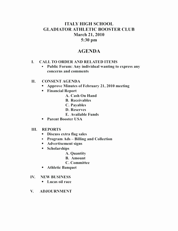 Booster Club Meeting Minutes Template Best Of Sample Agenda Template for Meetings Non Profit Board