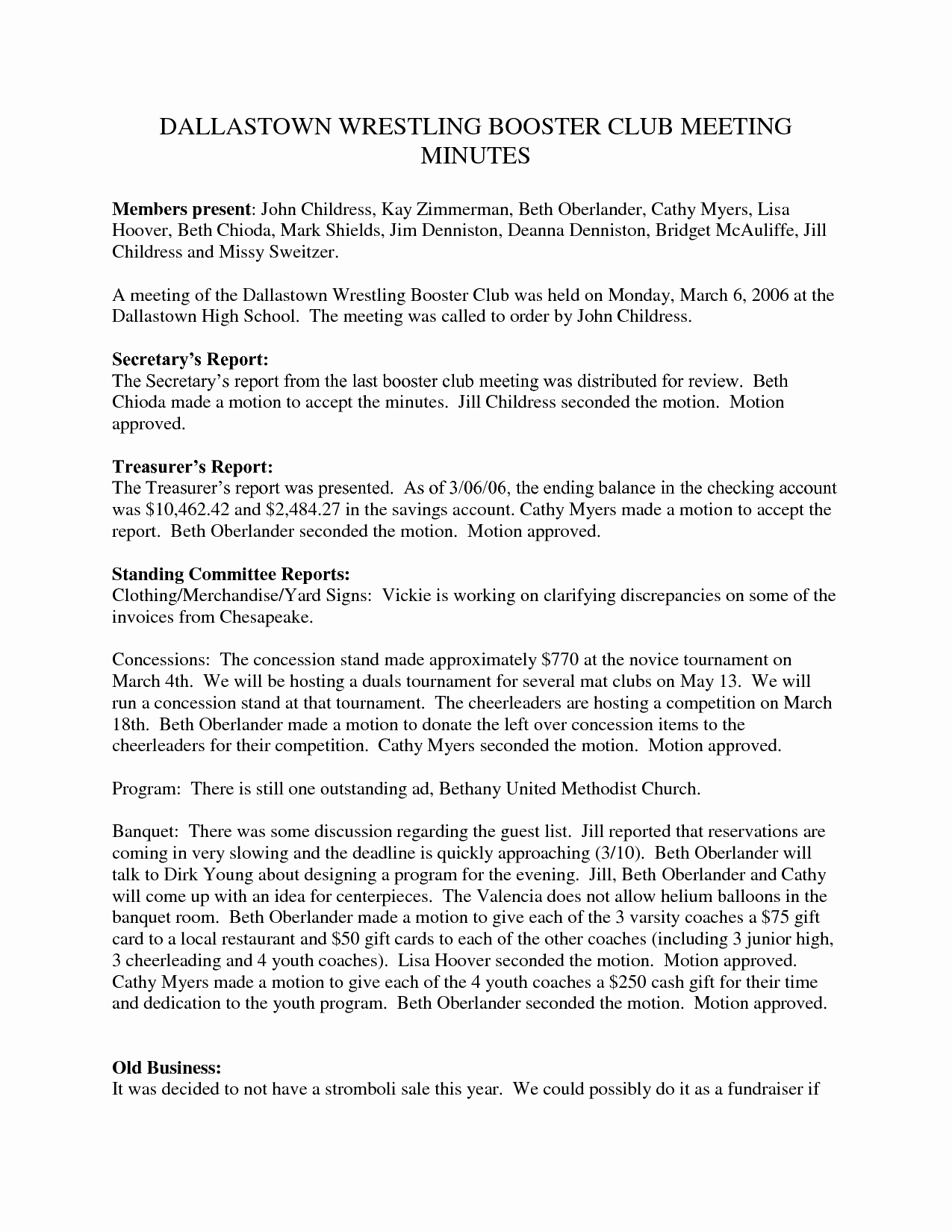 Booster Club Meeting Minutes Template Elegant 27 Of Template for Club Meeting Minutes Template