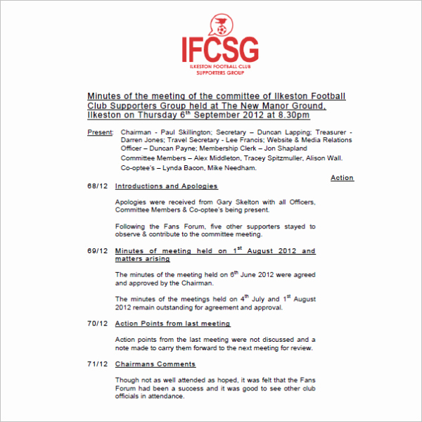 Booster Club Meeting Minutes Template Lovely 21 Club Meeting Minutes Templates Pdf Sample formats