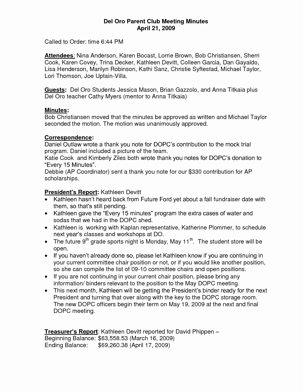 Booster Club Meeting Minutes Template Lovely 27 Of Template for Club Meeting Minutes Template