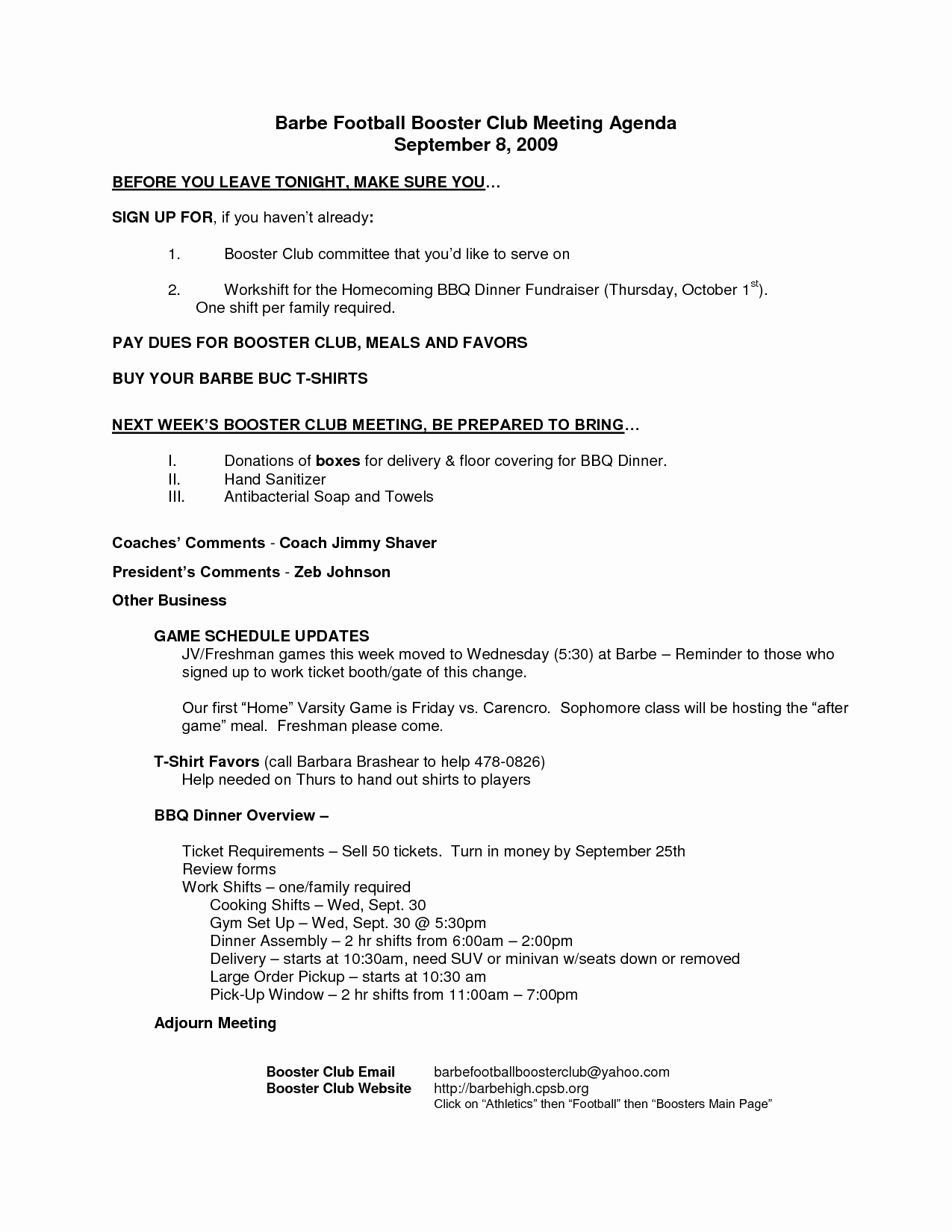 Booster Club Meeting Minutes Template Lovely 7 Best Of Club Meeting Agenda Template Sample