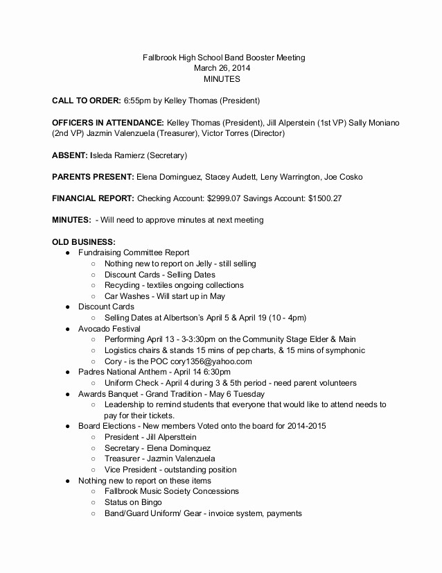 """Booster Club Meeting Minutes Template Luxury Search Results for """"sample Agenda"""" – Calendar 2015"""