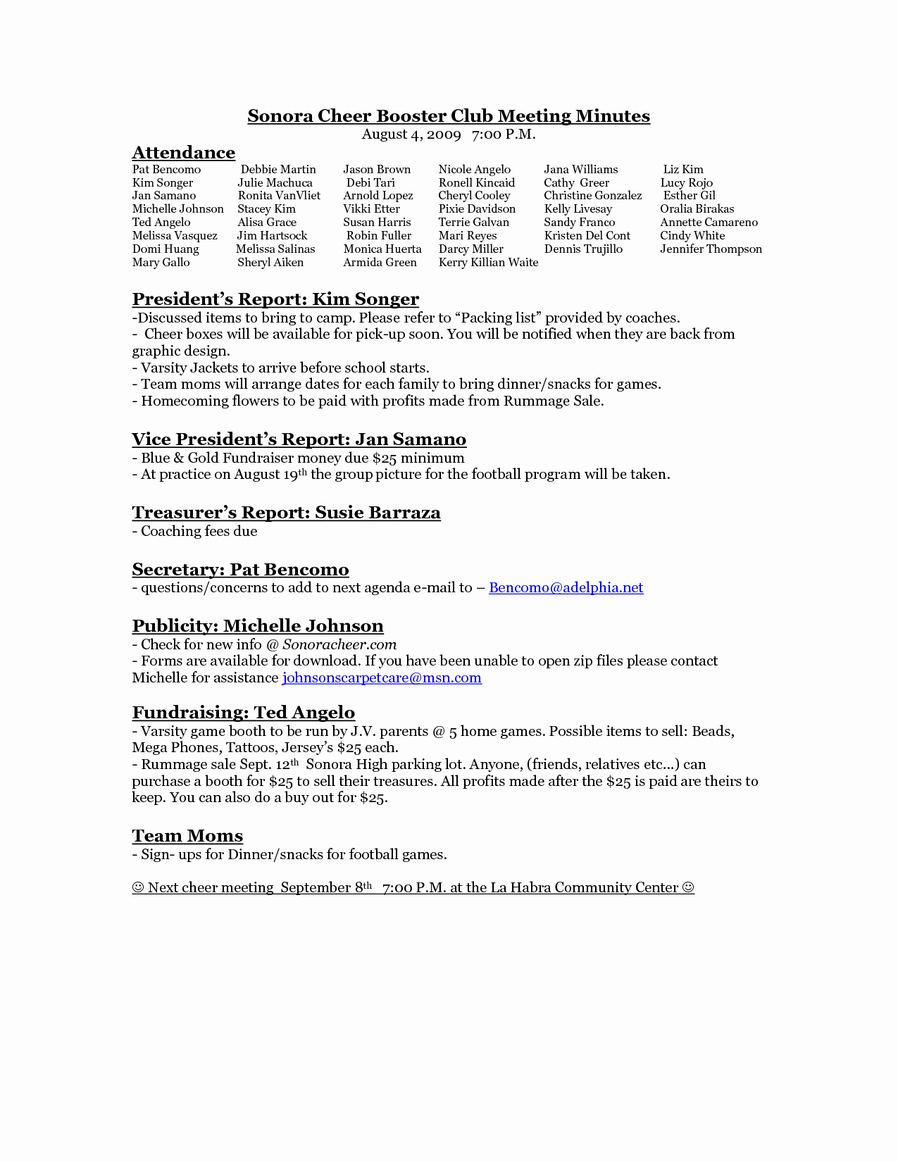Booster Club Meeting Minutes Template New 24 Of Booster Club Agenda Template