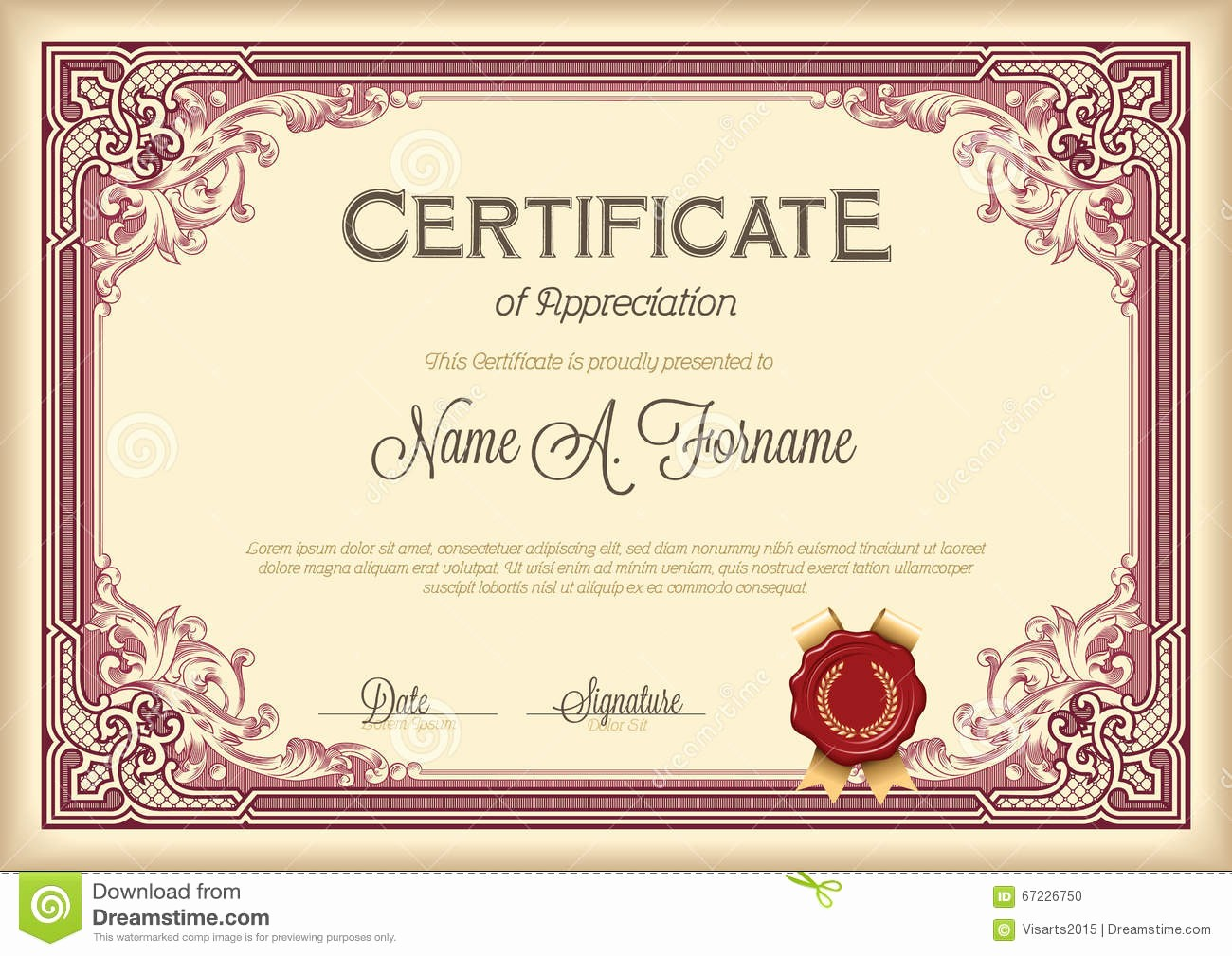 Border for Certificate Of Appreciation Awesome Certificate Appreciation Vintage Floral Frame Stock