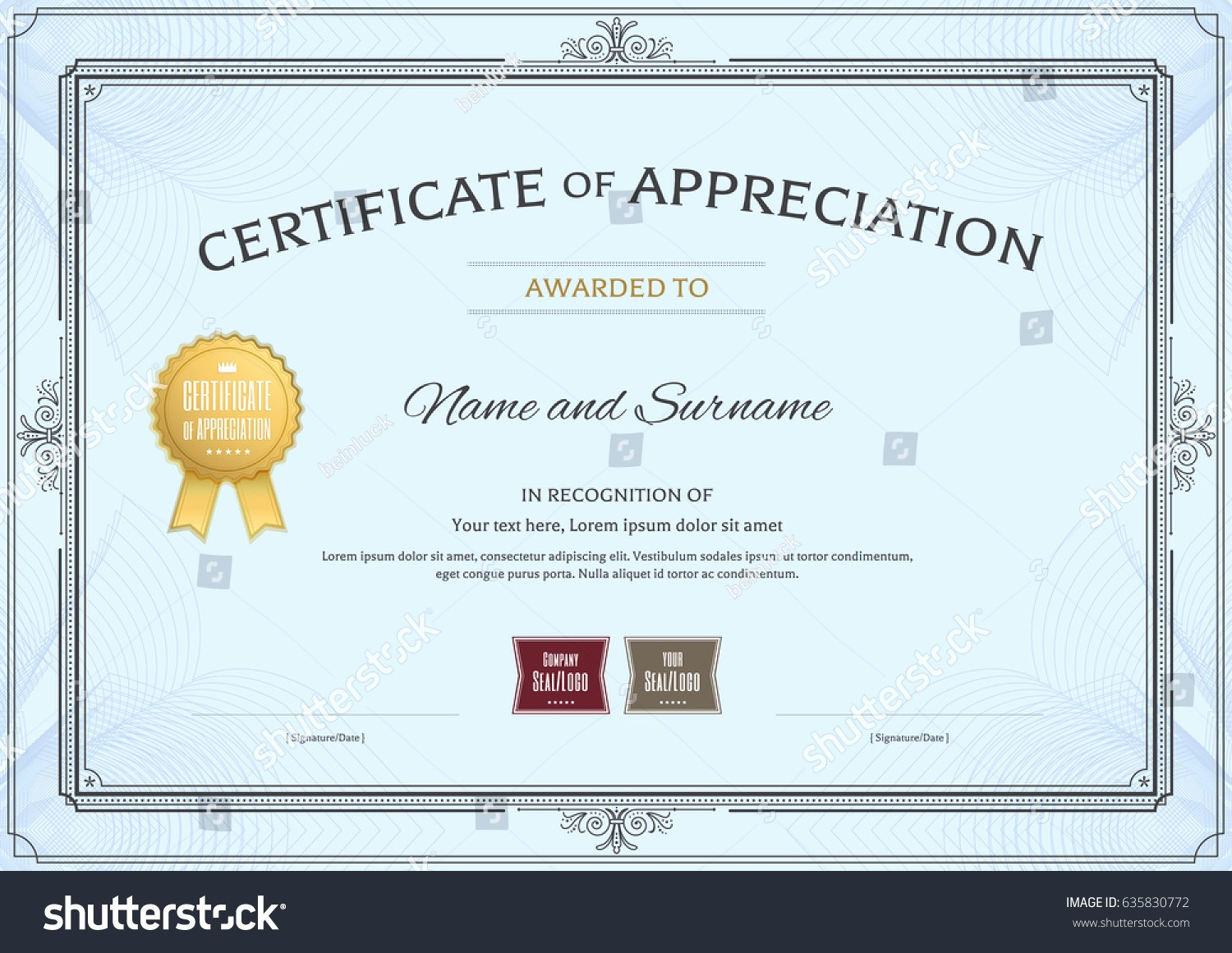 Border for Certificate Of Appreciation Best Of Certificate Appreciation Template Award Ribbon Vintage