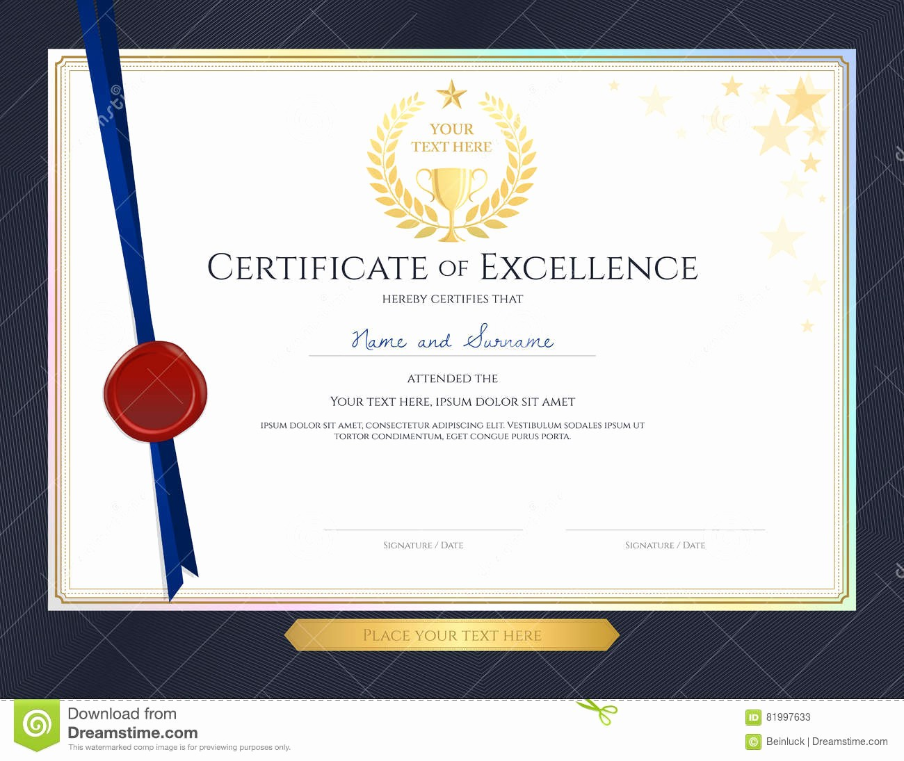 Border for Certificate Of Appreciation Elegant Certificate Achievement Template with Elegant Gold