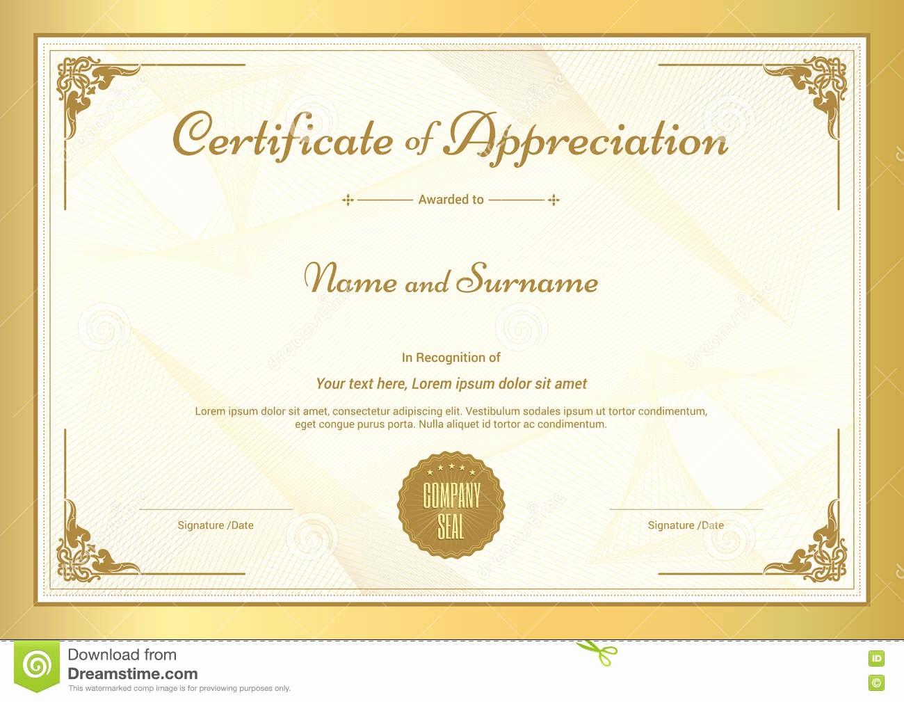 Border for Certificate Of Appreciation Elegant Certificate Appreciation Template with Gold Border