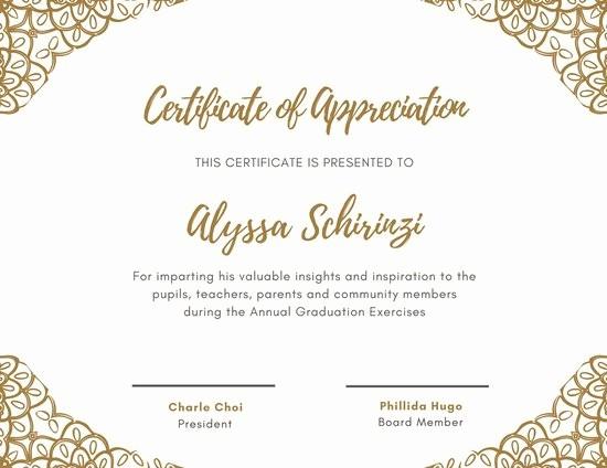 Border for Certificate Of Appreciation Elegant Champagne Gold Decorative Frame Appreciation Certificate