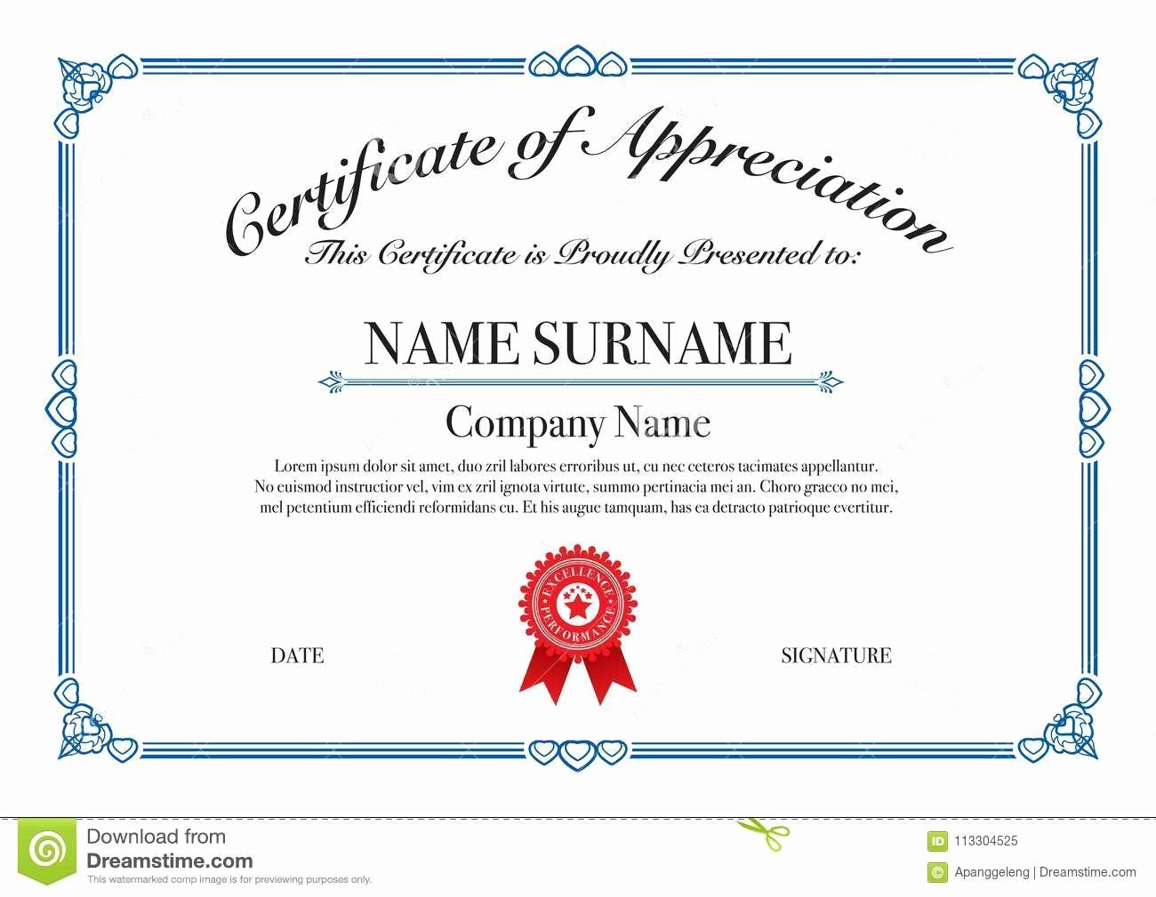 Border for Certificate Of Appreciation Fresh Blue Border Certificate Appreciation for Excellence