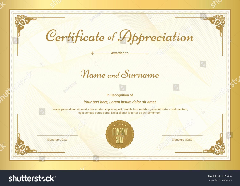 Border for Certificate Of Appreciation Fresh Certificate Appreciation Template Vintage Gold Border