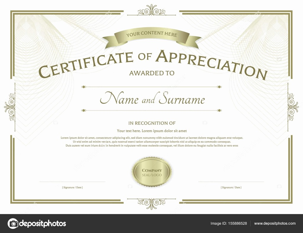 Border for Certificate Of Appreciation Luxury Certificate Of Appreciation Template with Award Ribbon On